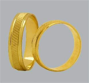 14K YELLOW GOLD WEDDING BAND RING DIAMOND CUT 5mm - 11