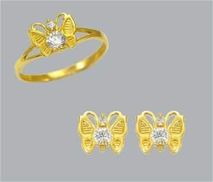 14K GOLD CZ KIDS RING EARRINGS MATCHING SET BUTTERFLY