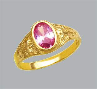 NEW 14K YELLOW GOLD CZ KIDS CHILD BABY RING PINK OVAL