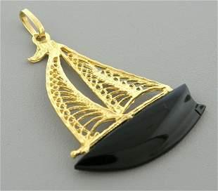 VINTAGE 14K YELLOW GOLD BLACK ONYX YACHT BOAT PENDANT