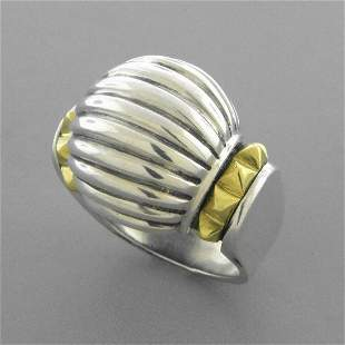 LAGOS CAVIAR 18K GOLD STERLING SILVER LADIES DOME RING