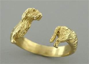 18K YELLOW GOLD DACHSHUND DOG BAND WRAP RING SIZE 7