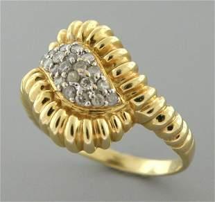 VINTAGE 14K Y/ GOLD DIAMOND SWIRL SHRIMP CLUSTER RING