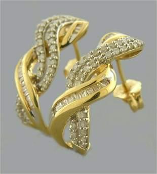 14K YELLOW GOLD ROUND BAGUETTE DIAMOND J EARRINGS .70ct