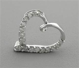 14K WHITE GOLD LADIES DIAMOND OPEN HEART PENDANT