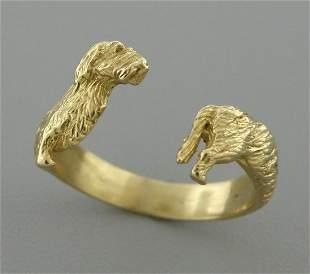 VINTAGE 18K Y/ GOLD DACHSHUND DOG BAND WRAP RING 9.5