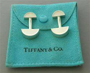 TIFFANY & CO. STERLING SILVER COIN EDGE CUFFLINKS