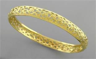 14K YELLOW GOLD MOROCCAN BANGLE BRACELET FILIGREE
