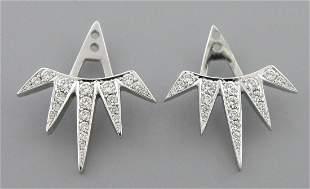 14K WHITE GOLD DIAMOND HORIZON EARRING JACKETS 0.55ct