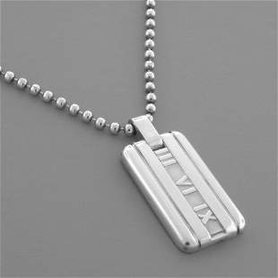 TIFFANY & CO. STERLING SILVER ATLAS DOG TAG NECKLACE