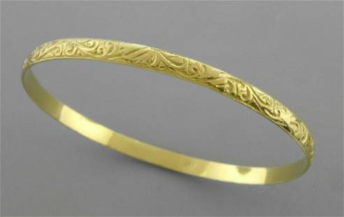 18K YELLOW GOLD MOROCCAN BANGLE BRACELET SWIRL DESIGN