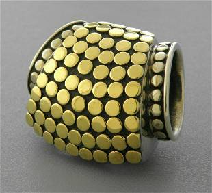 JOHN HARDY 18K GOLD STERLING SILVER LARGE SLIDE PENDANT