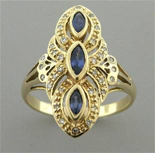 VINTAGE 14K YELLOW GOLD BLUE SAPPHIRE DIAMOND RING