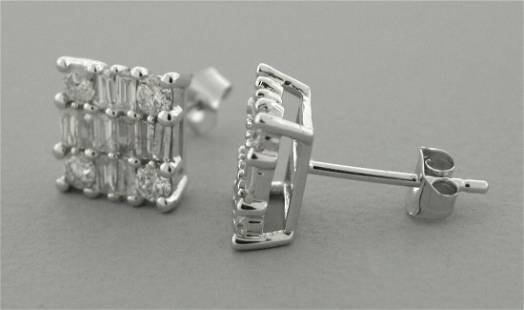 14K WHITE GOLD BAGUETTE ROUND DIAMOND STUD EARRINGS 1.2