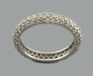 14K WHITE GOLD DIAMOND PAVE SET 2.10 ETERNITY BAND RING