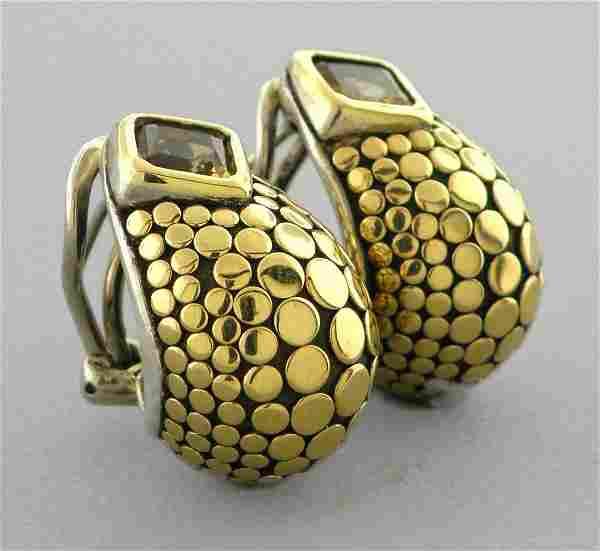JOHN HARDY 18K GOLD STERLING SILVER CITRINE EARRINGS