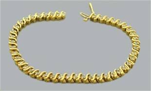 14K GOLD DIAMOND S LINK 2.25ct HEAVY TENNIS BRACELET