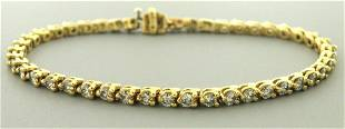 14K YELLOW GOLD LADIES DIAMOND TENNIS BRACELET 3.68ct