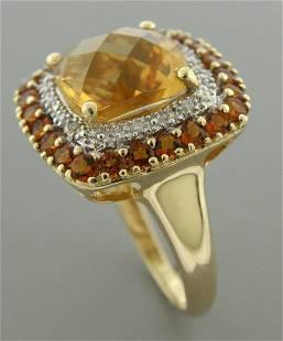 VINTAGE 14K YELLOW GOLD MEDIRA CITRINE & DIAMOND RING
