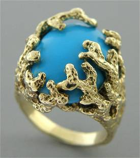 14K YELLOW GOLD TURQUOISE TREE BRANCHES COCKTAIL RING