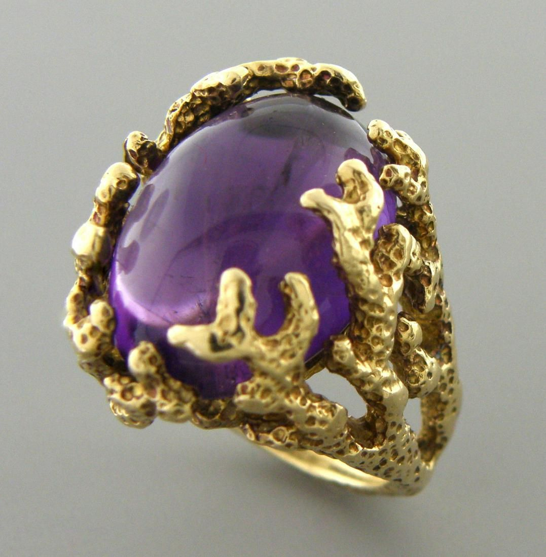 VINTAGE 14K YELLOW GOLD AMETHYST TREE BRANCHES RING