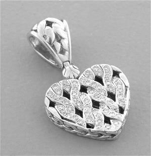JOHN HARDY 18K GOLD SILVER DIAMOND HEART PENDANT