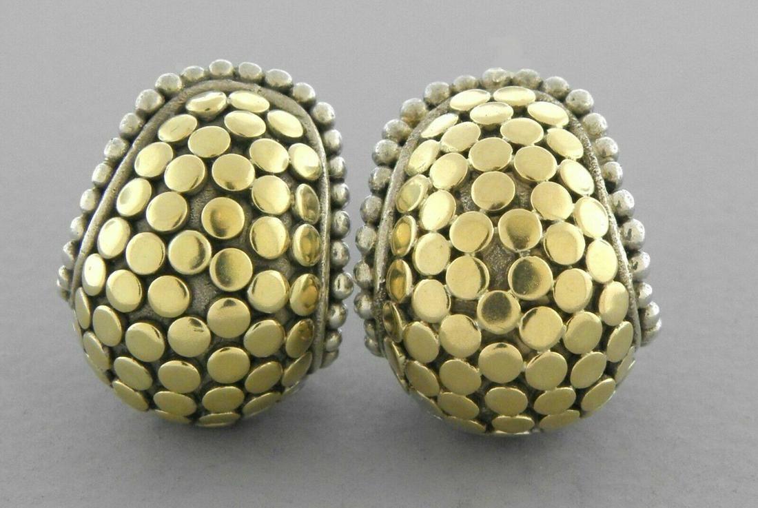 JOHN HARDY 18K GOLD SILVER BUDDHA BELLY EARRINGS