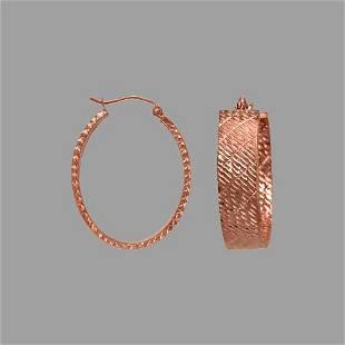 14K ROSE GOLD 8mm OVAL DIAMOND CUT TUBE HOOP EARRINGS