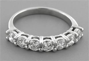 PLATINUM DIAMOND 7 STONE WEDDING BAND RING 1ct - G VS