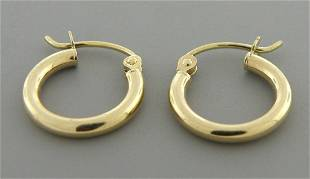 NEW 14K YELLOW GOLD PLAIN HUGGIE HOOP EARRINGS 2mm