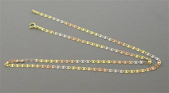 """NEW 14K TRI COLOR GOLD GUCCI STAR LINK NECKLACE 20"""""""