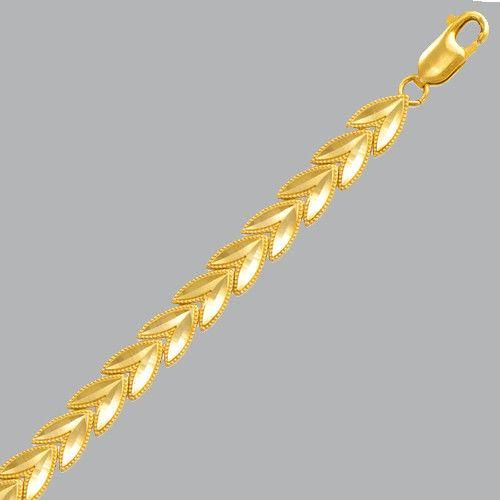"NEW 14K YELLOW GOLD LADIES LEAF BRACELET - 5mm - 7"""