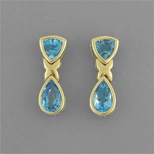 14K YELLOW GOLD LADIES BLUE TOPAZ DANGLE EARRINGS