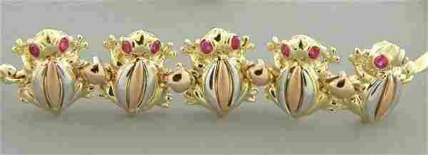 NEW 14K YELLOW WHITE ROSE GOLD LADIES FROG BRACELET