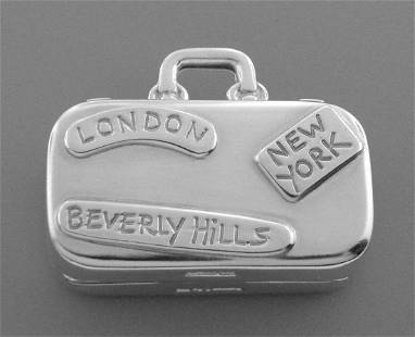 TIFFANY & Co. STERLING SILVER SUITCASE LUGGAGE PILL BOX