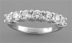 PLATINUM DIAMOND 7 STONE WEDDING BAND RING 1.50ct