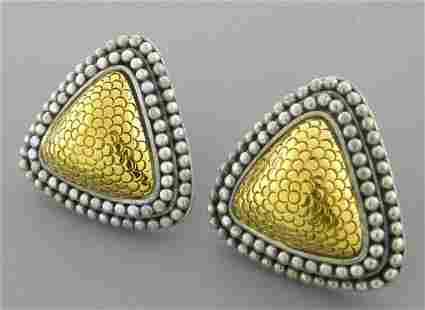 JOHN HARDY 18K GOLD STERLING SILVER TRIANGLE EARRINGS