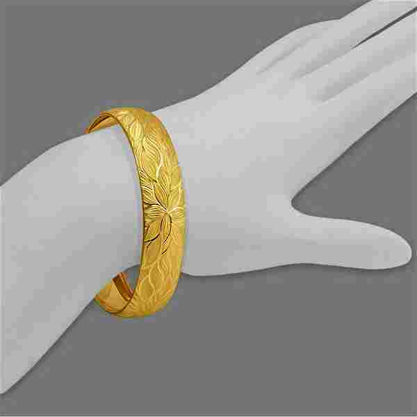14K YELLOW GOLD LADIES DIAMOND CUT BANGLE BRACELET 15mm