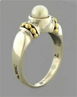 LAGOS CAVIAR 18K GOLD STERLING SILVER LADIES PEARL RING