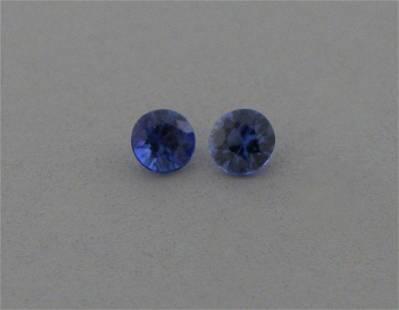 2.8mm MATCHING PAIR ROUND BLUE SAPPHIRE