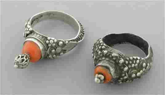 ANTIQUE SILVER JUDAICA YEMENITE BRIDE & GROOM RING SET