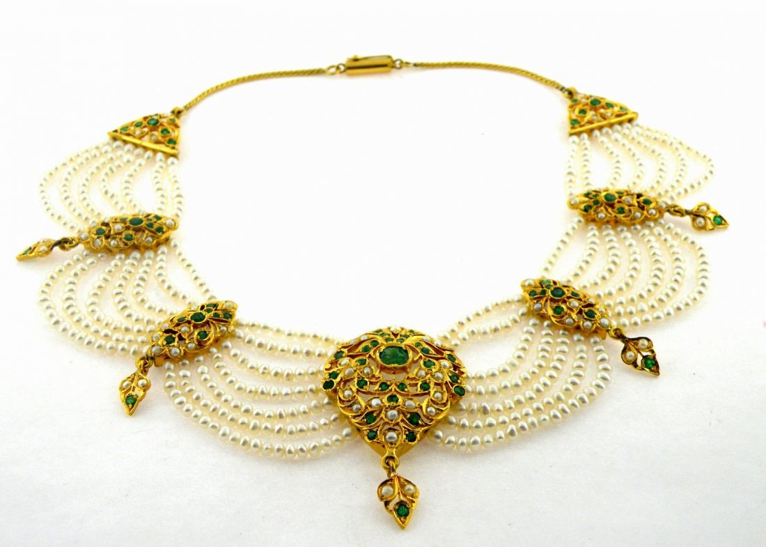 ANTIQUE 22K Y/ GOLD PEARL COLOMBIAN EMERALD NECKLACE - 2