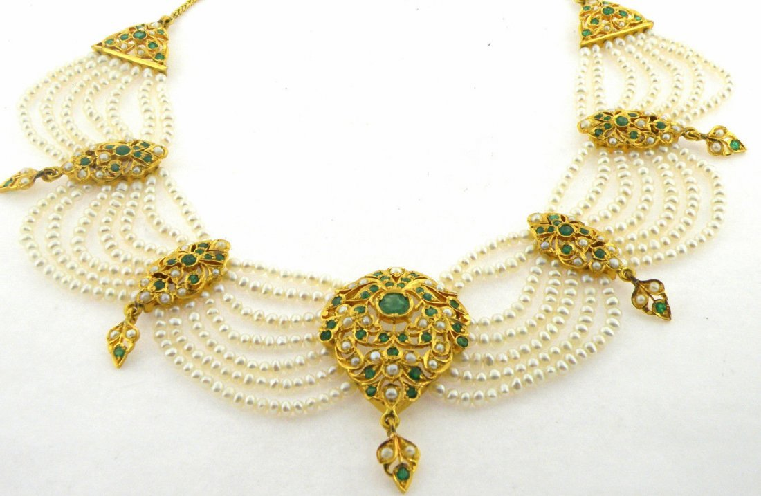 ANTIQUE 22K Y/ GOLD PEARL COLOMBIAN EMERALD NECKLACE - 3