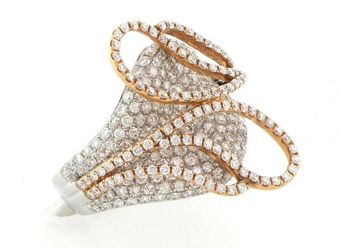 NEW 18K WHITE ROSE GOLD DIAMONDS FANCY COCKTAIL RING
