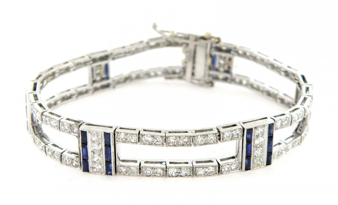 VINTAGE 7ct PLATINUM DIAMOND BLUE SAPPHIRE BRACELET