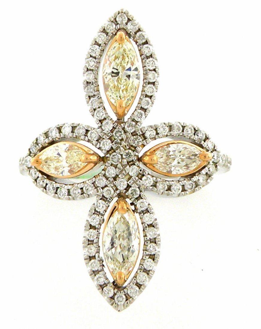 NEW 14K WHITE ROSE GOLD FANCY YELLOW DIAMONDS RING VS