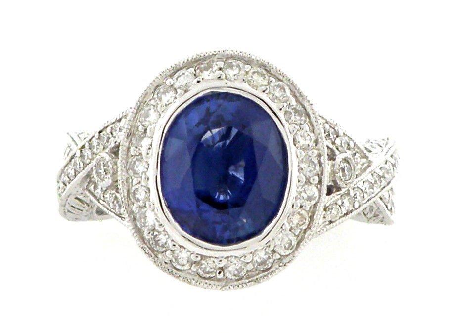 NEW 18K WHITE GOLD DIAMOND BLUE SAPPHIRE COCKTAIL RING