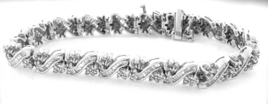 NEW 14K WHITE GOLD DIAMOND BAGUETTE BRACELET HEAVY 6ct