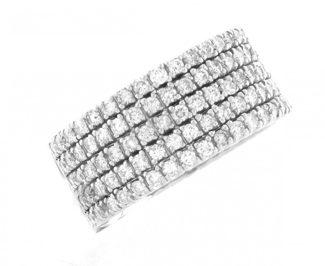 NEW 14K WHITE GOLD 5 BAND ROW DIAMOND RING 2ct