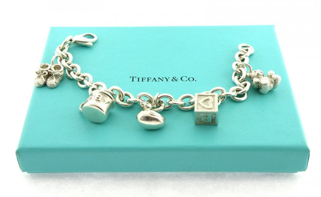 TIFFANY & Co. STERLING SILVER BABY 5 CHARM BRACELET